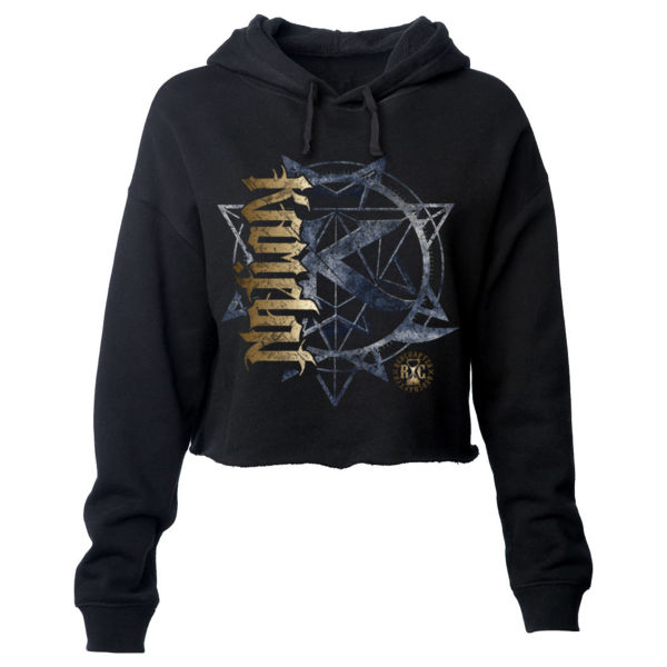 KAMELOT NATION AMBIGRAM - ULTRA PREMIUM WOMEN'S CROPPED PULLOVER HOODIE - SOLID GRAPHITE BLACK Thumbnail